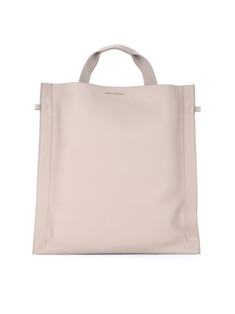 Orciani Bag In Taupe Textured Leather - BEIGE