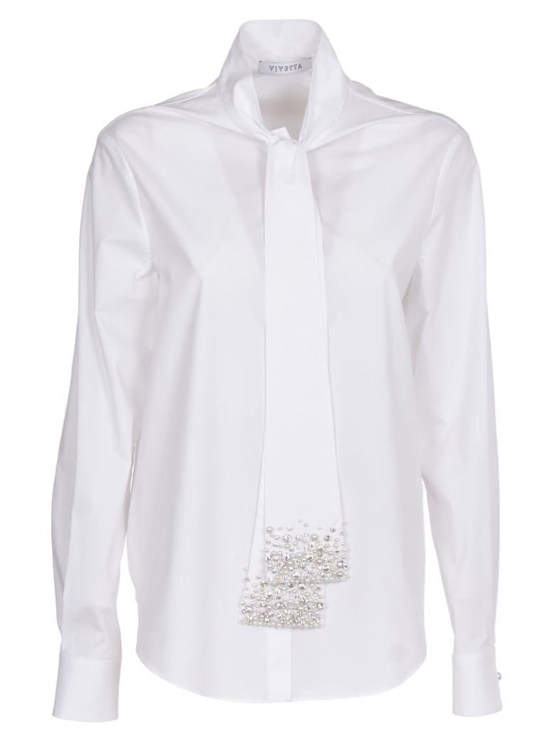 Vivetta White Shirt With Pearl Embroidery - white
