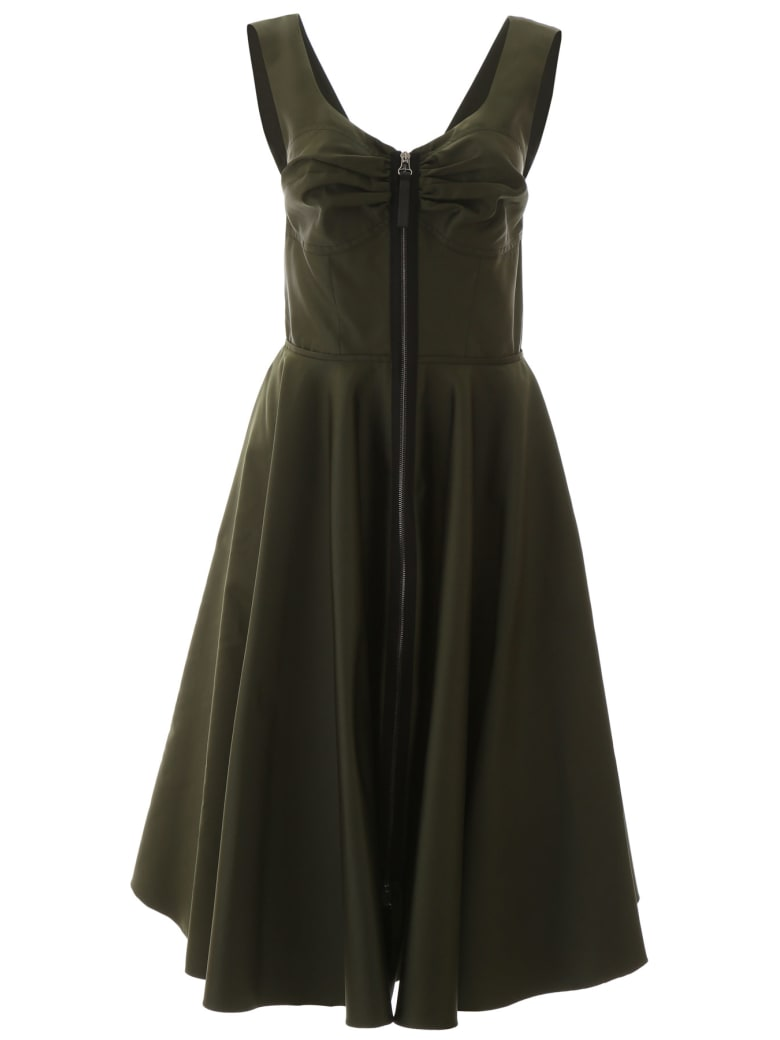 Marni Zipped Mikado Dress - DARK OLIVE (Green)