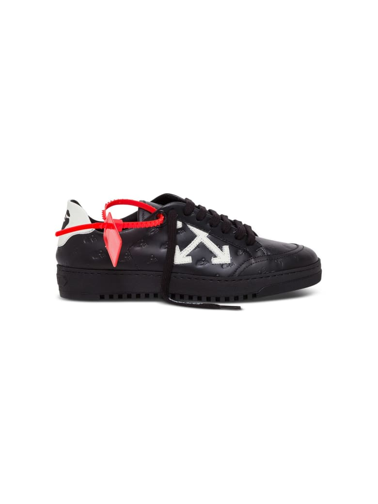 Off-White Low Leather Sneakers With Logo - Black
