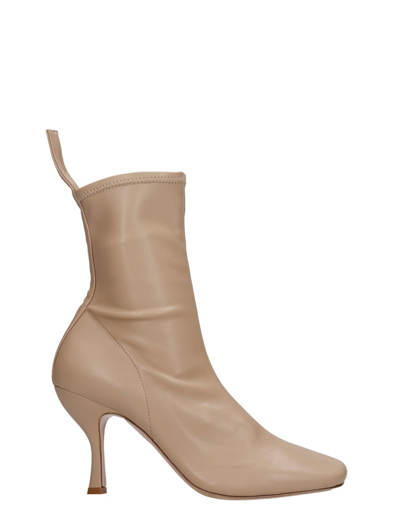 GIA COUTURE High Heels Ankle Boots In Beige Suede - beige