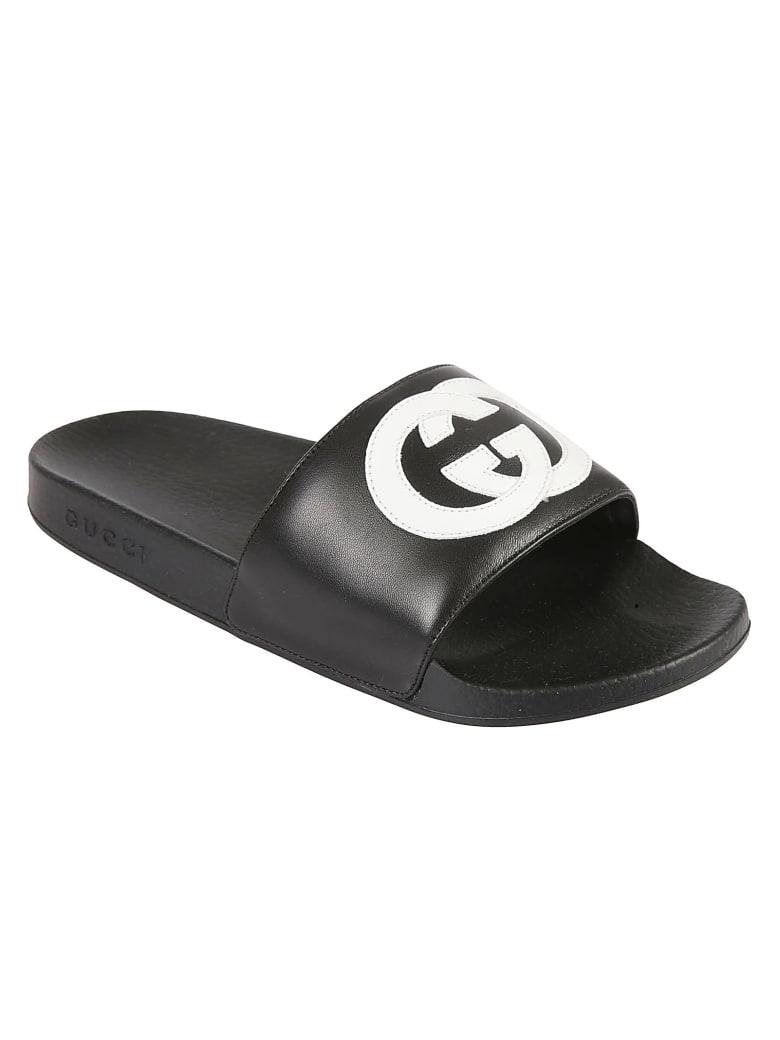 Gucci Logo Detail Sliders - Black/White