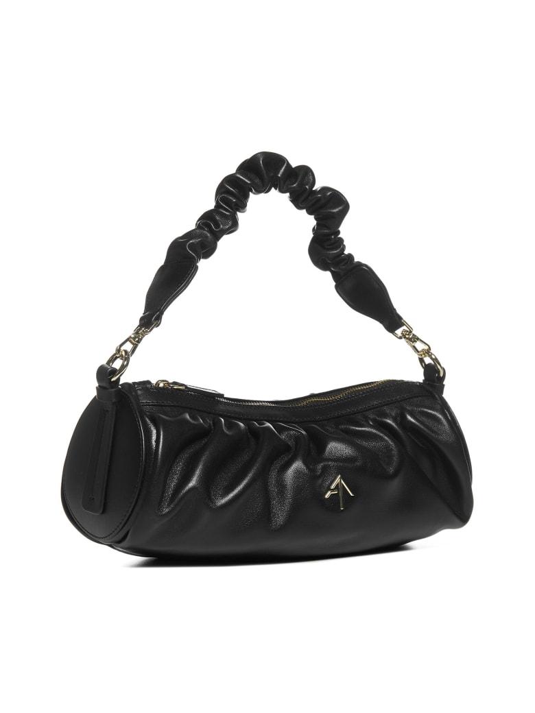 MANU Atelier Ruched Cylinder Leather Bag - Black