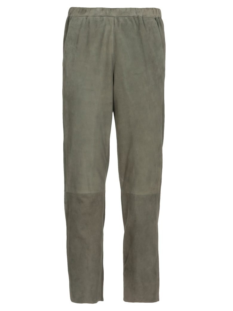 DROMe Suede Leather Trousers - Olive