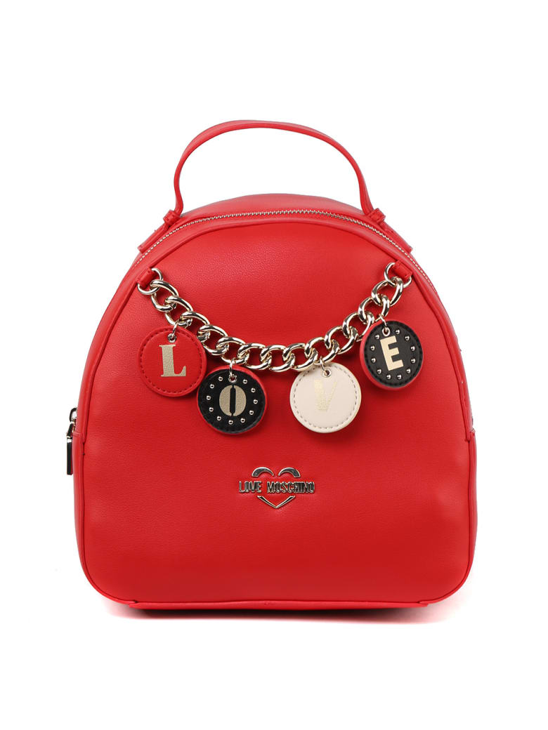 Love Moschino Red Faux Leather Mini Backpack - Red
