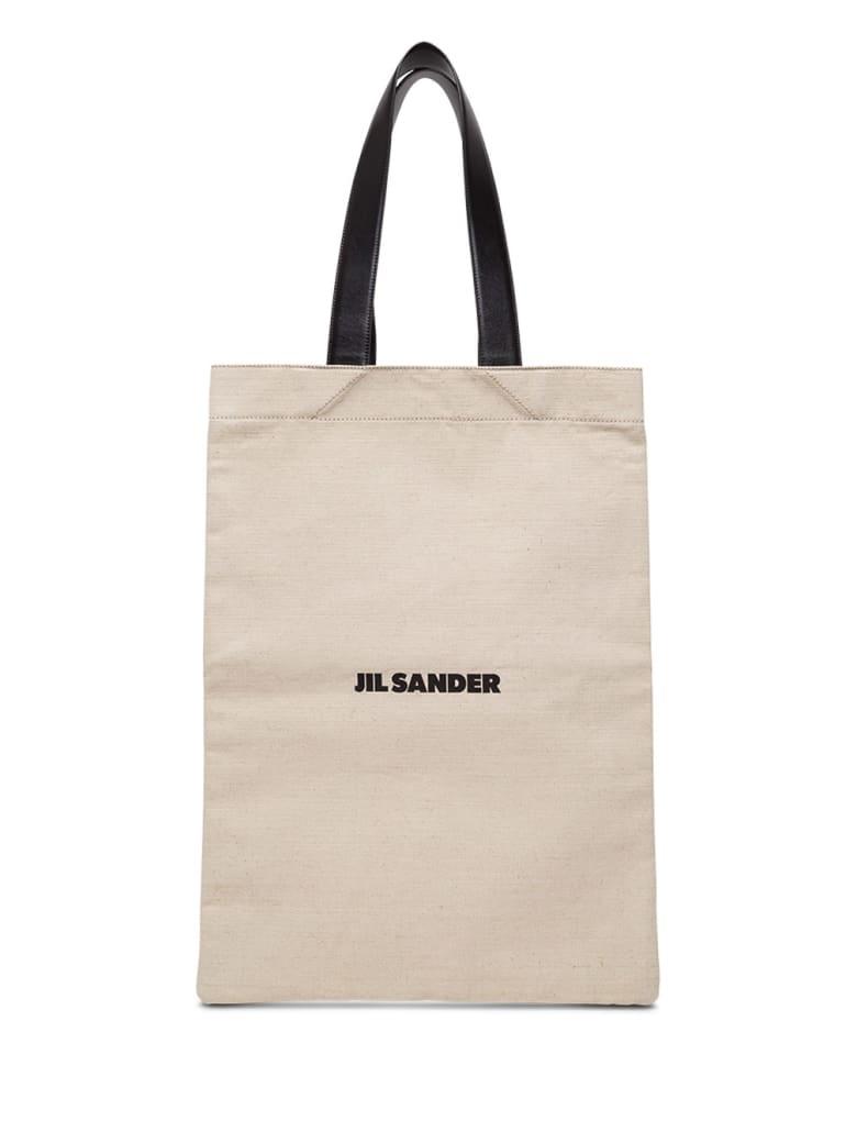 Jil Sander Large Cotton Shopper With Logo - Beige