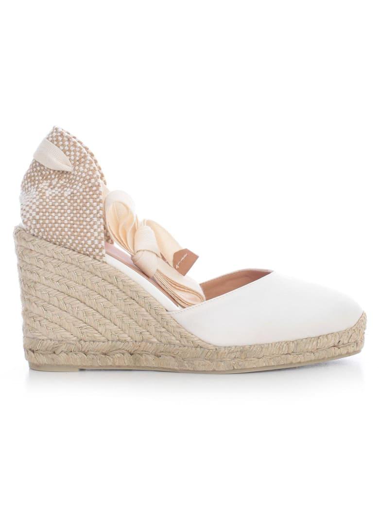 Castañer Carina Satin Espadrilles W/lace On Ankle - Crudo