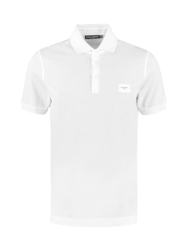 Dolce & Gabbana Stretch Cotton Piqué Polo Shirt - White
