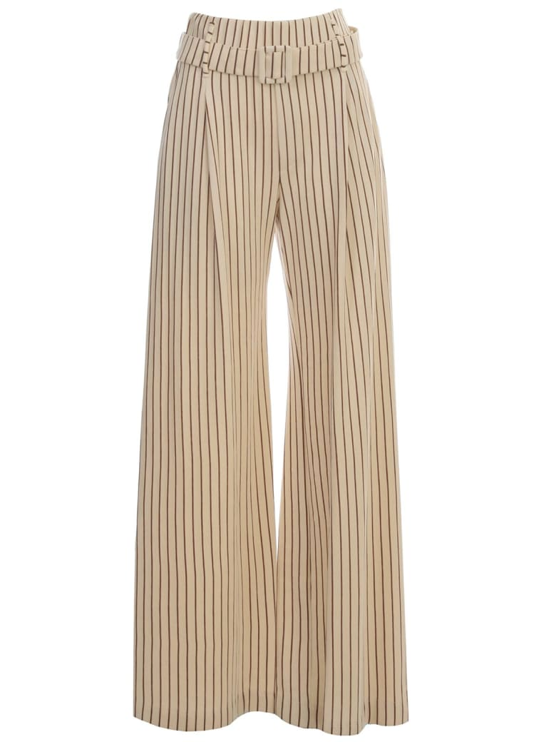 Erika Cavallini Steve Pants Wide Leg W/stripes - Rigat Riga Icecream Brown