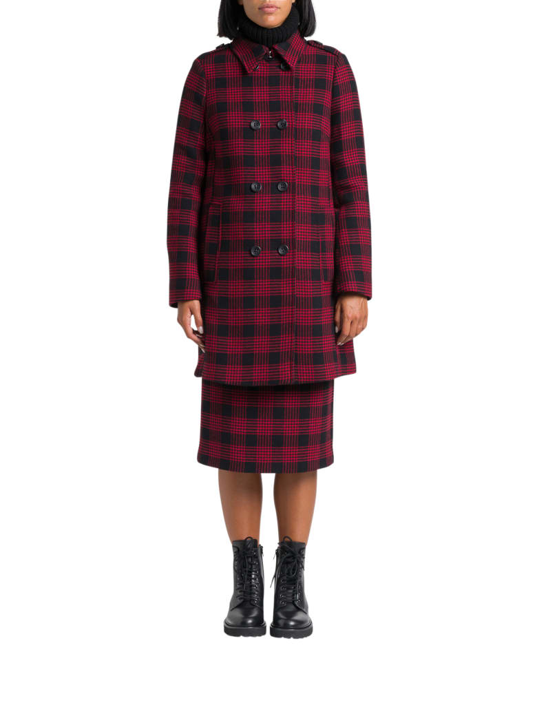RED Valentino Check Double-breasted Coat - Rosso