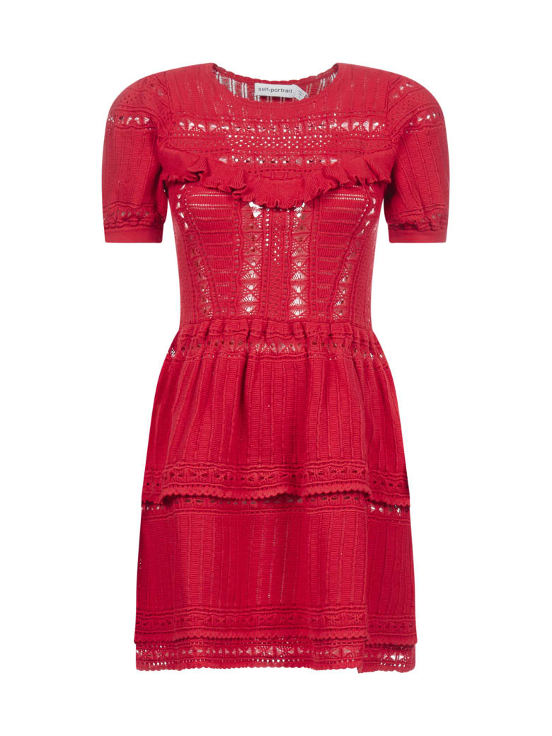 self-portrait Dress - Dark red