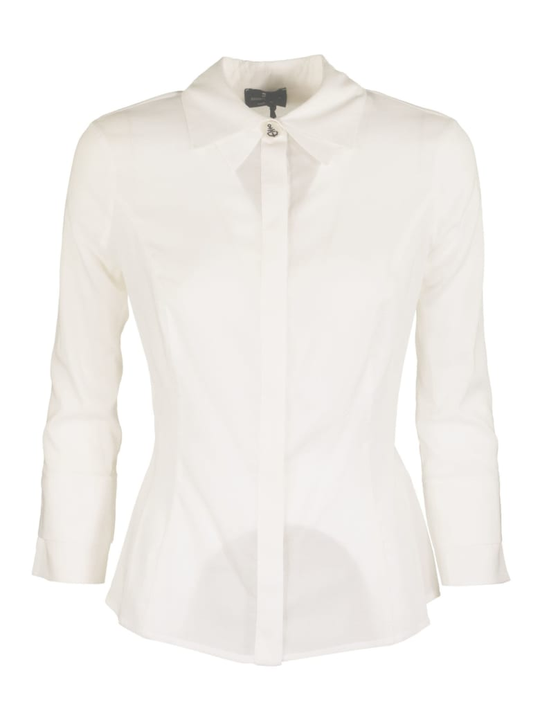 Elisabetta Franchi Celyn B. Waisted Blouse In Georgette Fabric - Ivory