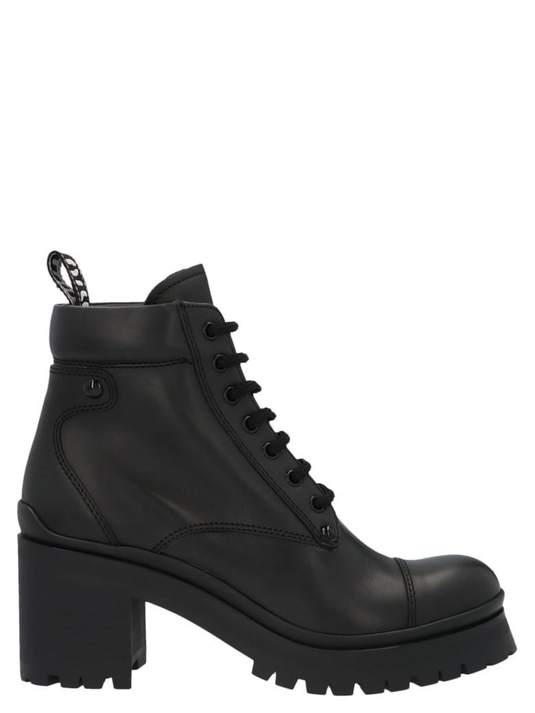 Miu Miu Military-style Ankle Boots - Black