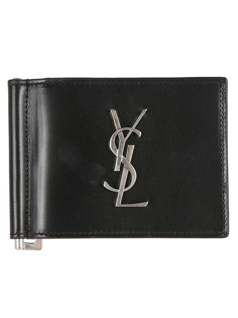 Saint Laurent Logo Plaque Wallet - Black