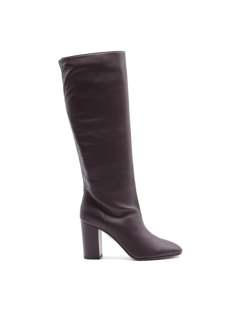 Aquazzura Boogie Boots In Plum Nappa - Plum