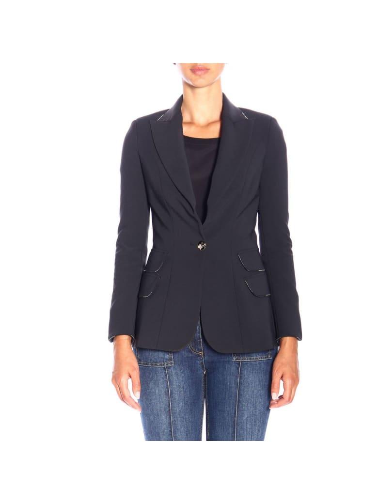 Elisabetta Franchi Celyn B. Elisabetta Franchi Blazer Single-button Elisabetta Franchi Jacket In Stretch Fabric - black