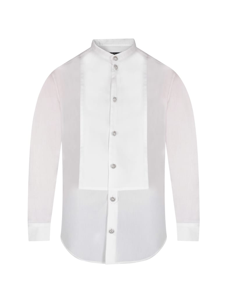 Balmain White Boy Shirt With Silver Buttons - White