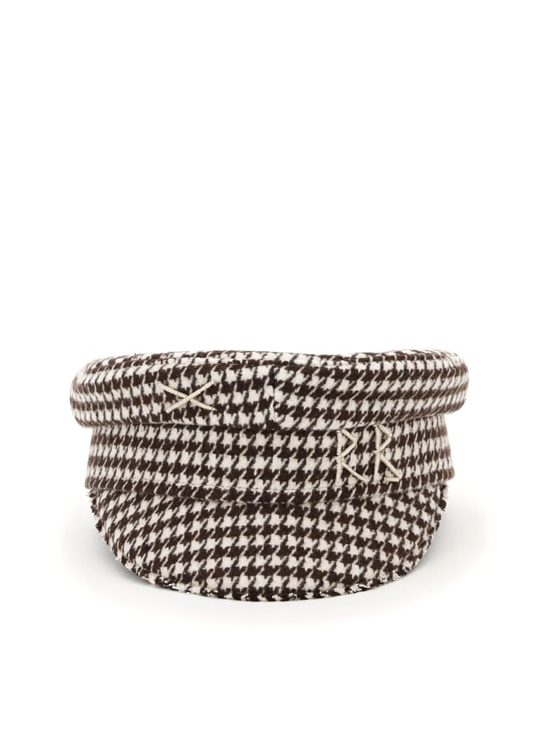Ruslan Baginskiy Baker Boy Houndstooth Hat Rb Embroidery - BROWN (White)