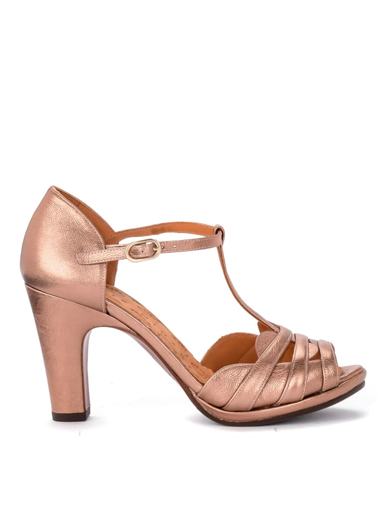 Chie Mihara Aloe Metal Peach Pink Leather Heeled Sandal. - ROSA