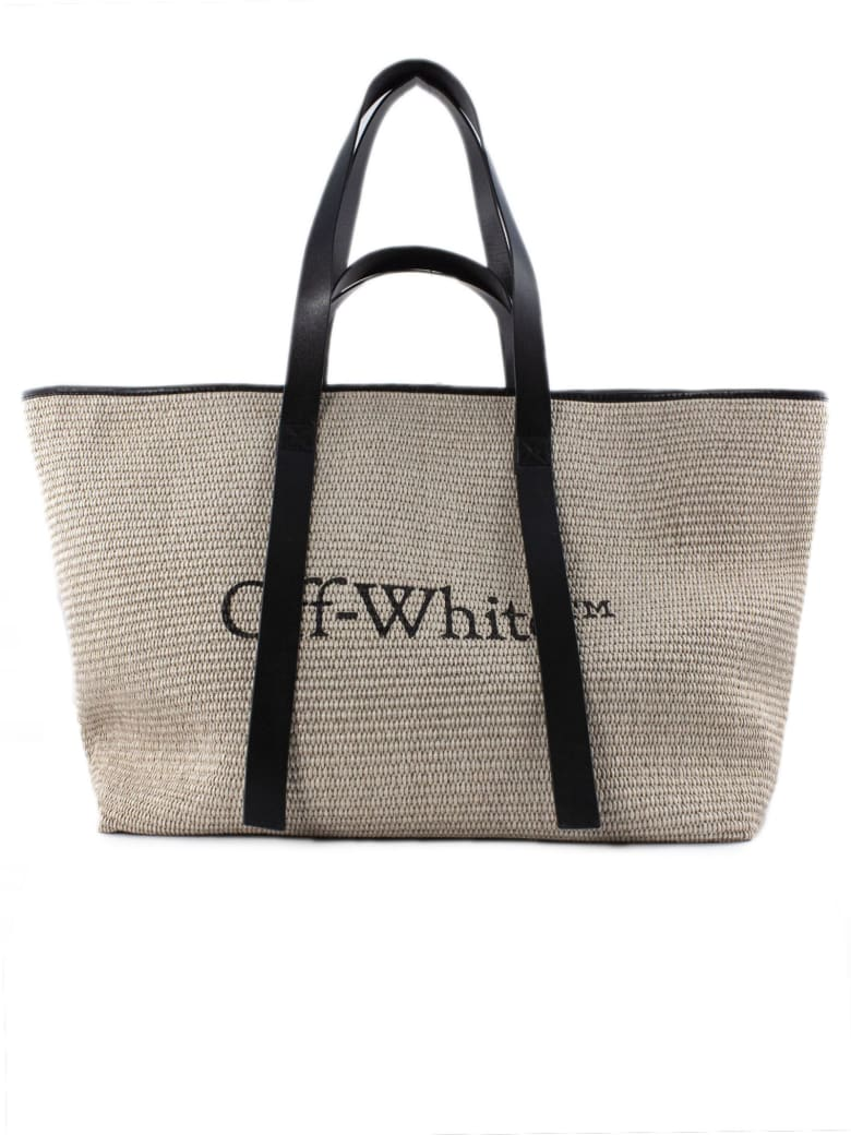 Off-White Commercial Logo Print Tote Bag - Beige