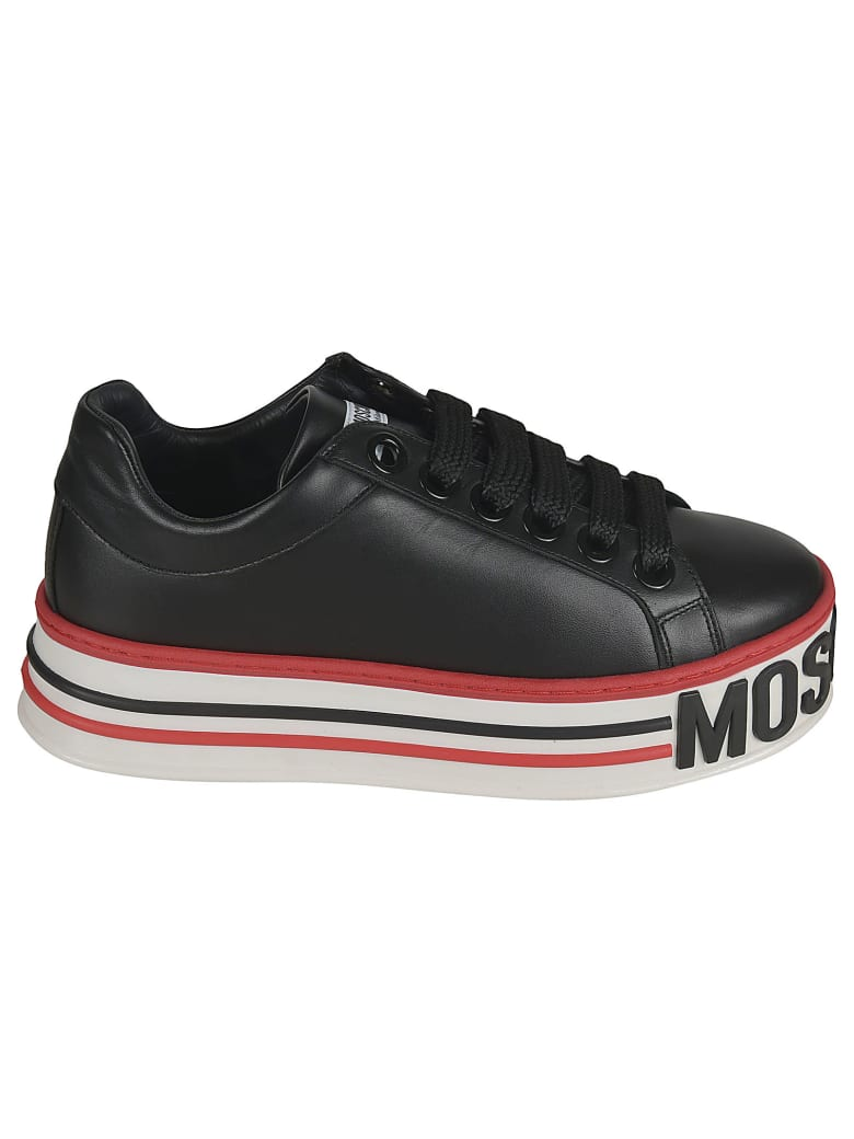 Moschino Embossed Logo Platform Sneakers - BLACK