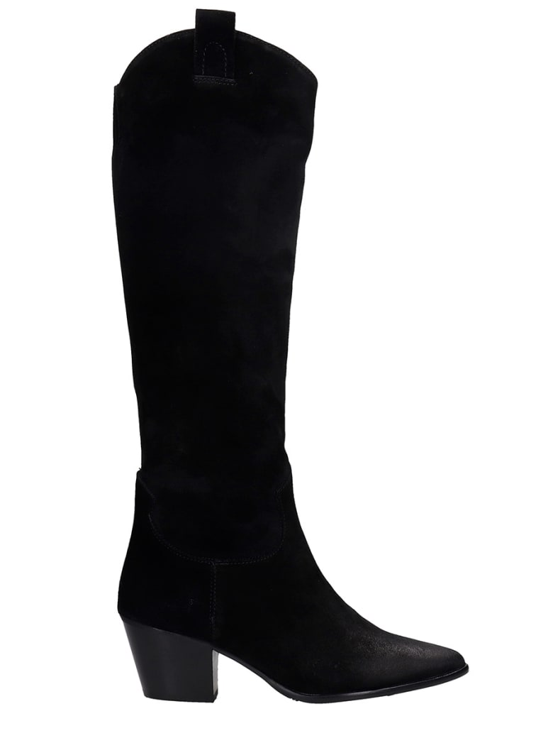 Pedro Miralles Cortina Texan Boots In Black Suede - black