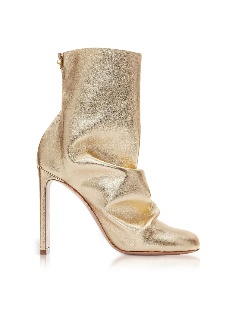Nicholas Kirkwood Light Gold Metallic Nappa 105mm D'arcy Ankle Boots - Gold