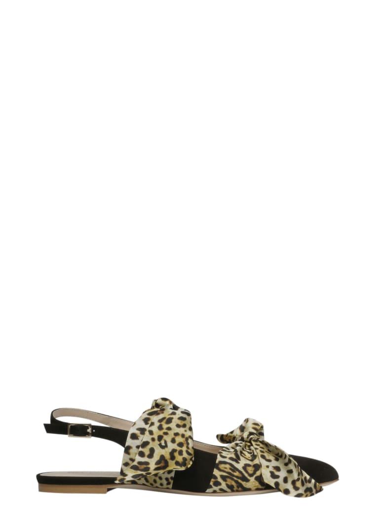 GIA COUTURE Sandals - Black White Leopard Print