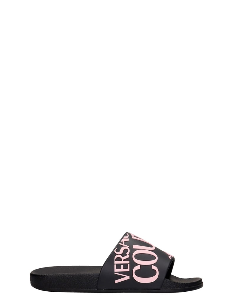 Versace Jeans Couture Flats In Black Rubber/plasic - black