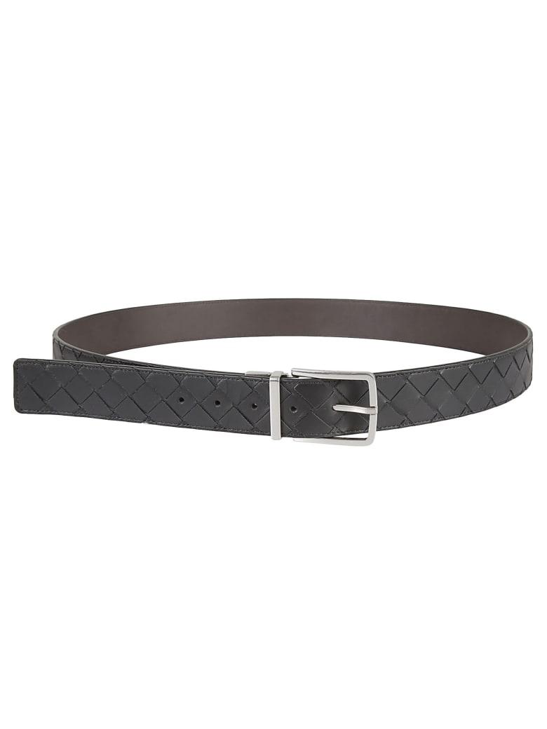 Bottega Veneta Intrecciato Belt - Black Fondant/Silver