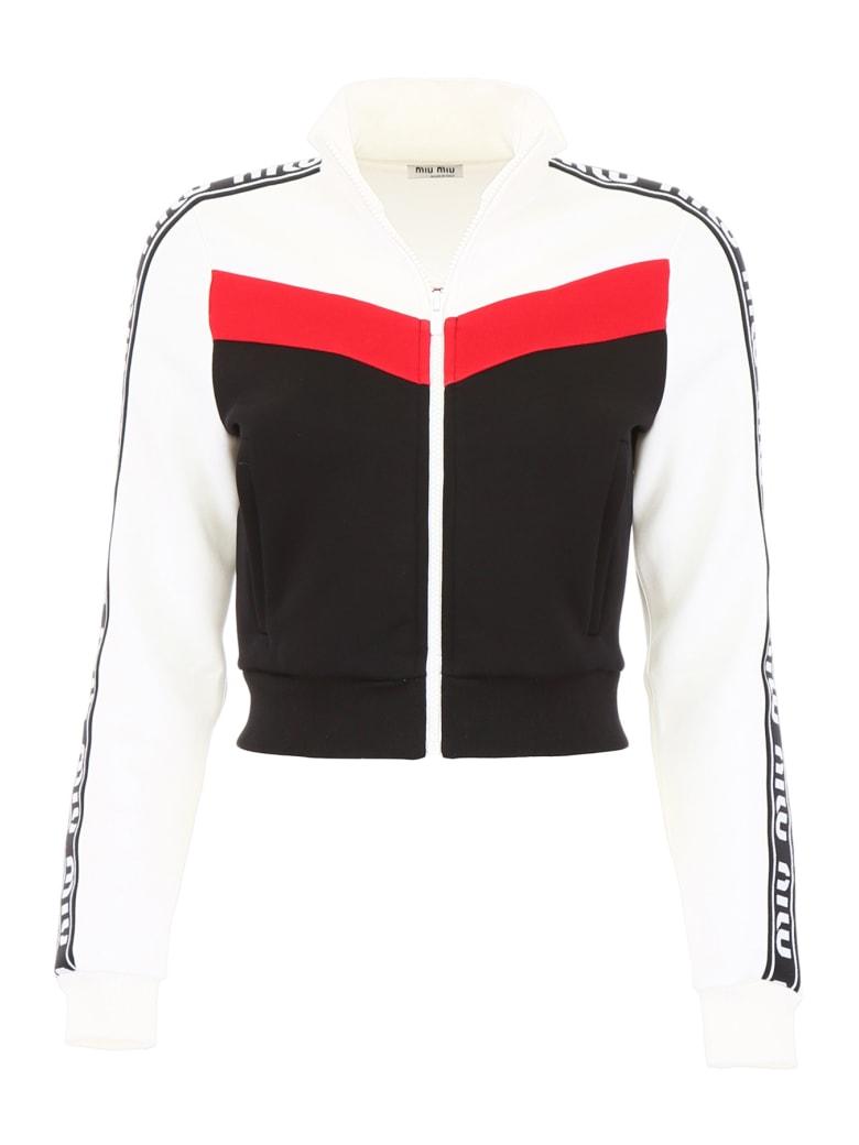 Miu Miu Track Jacket With Logo - NERO (White)