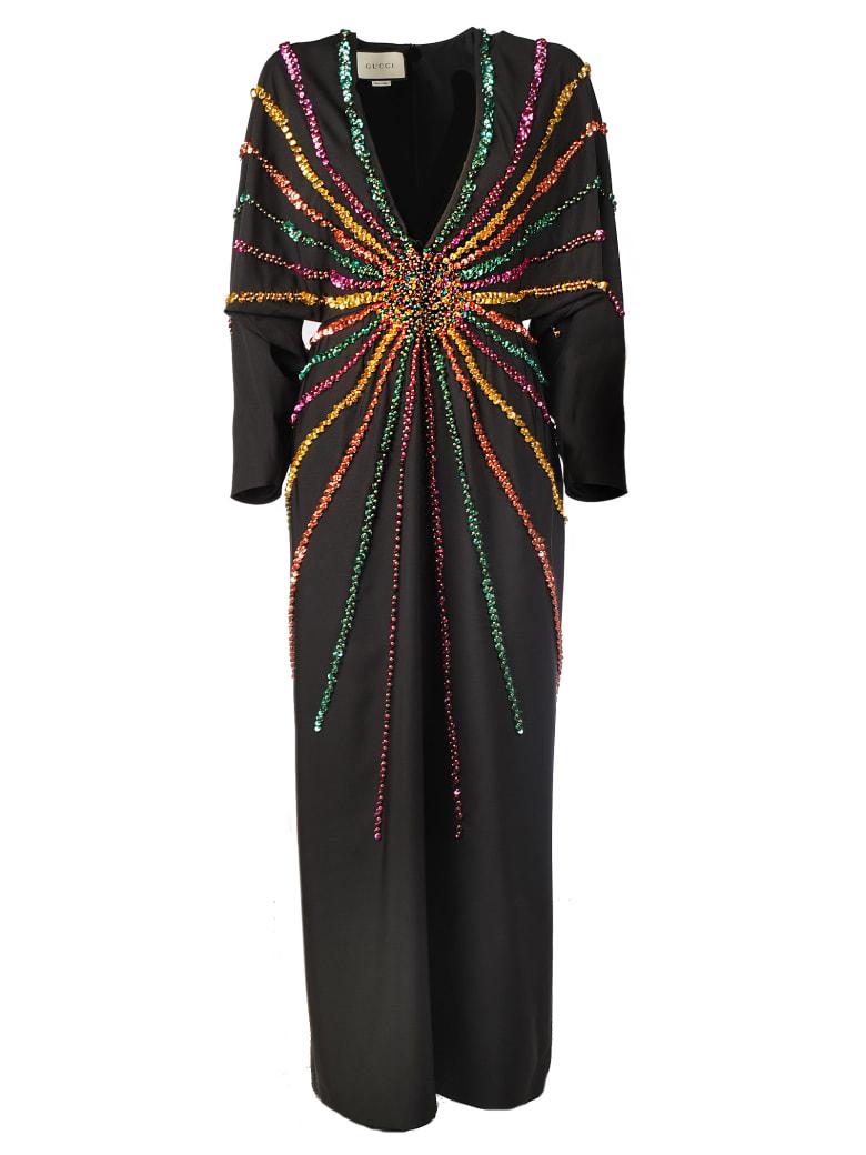 Gucci *long Dress With Paillettes - Black
