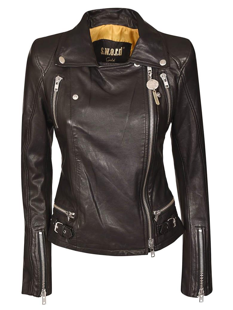 S.W.O.R.D 6.6.44 Zip-up Biker Jacket - Black