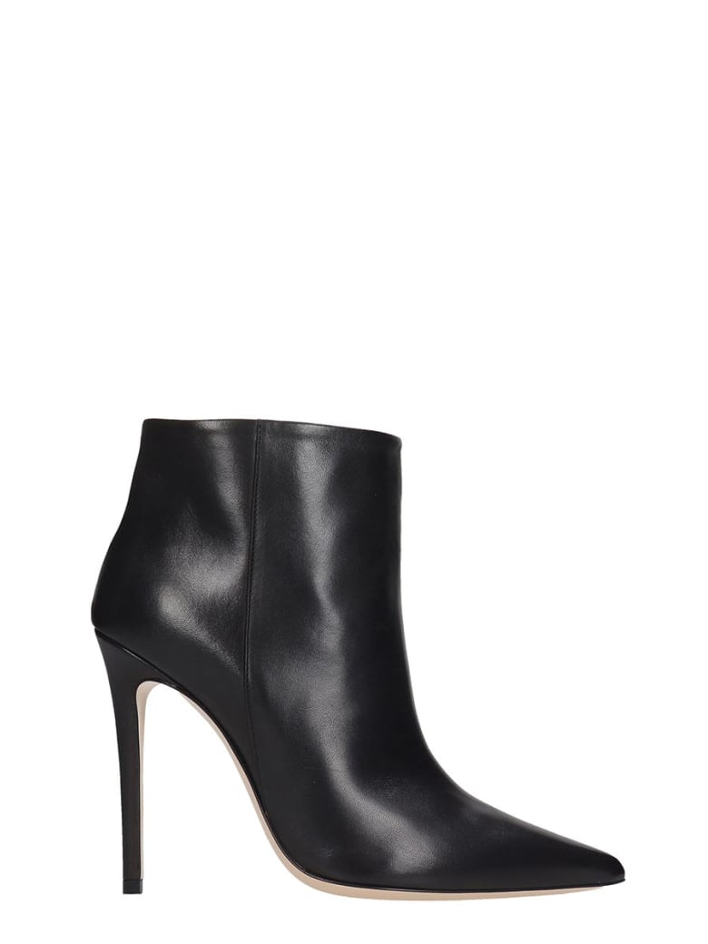 Dei Mille High Heels Ankle Boots In Black Leather - black