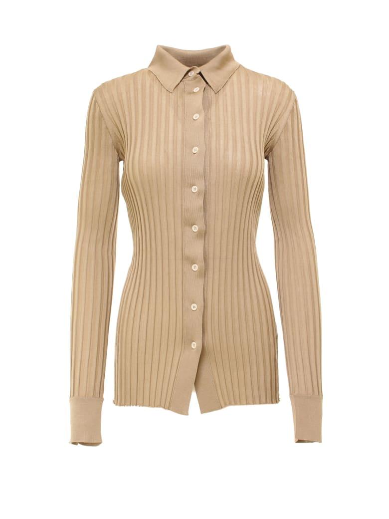 Bottega Veneta Sweater Silk Ribs Top - Beige