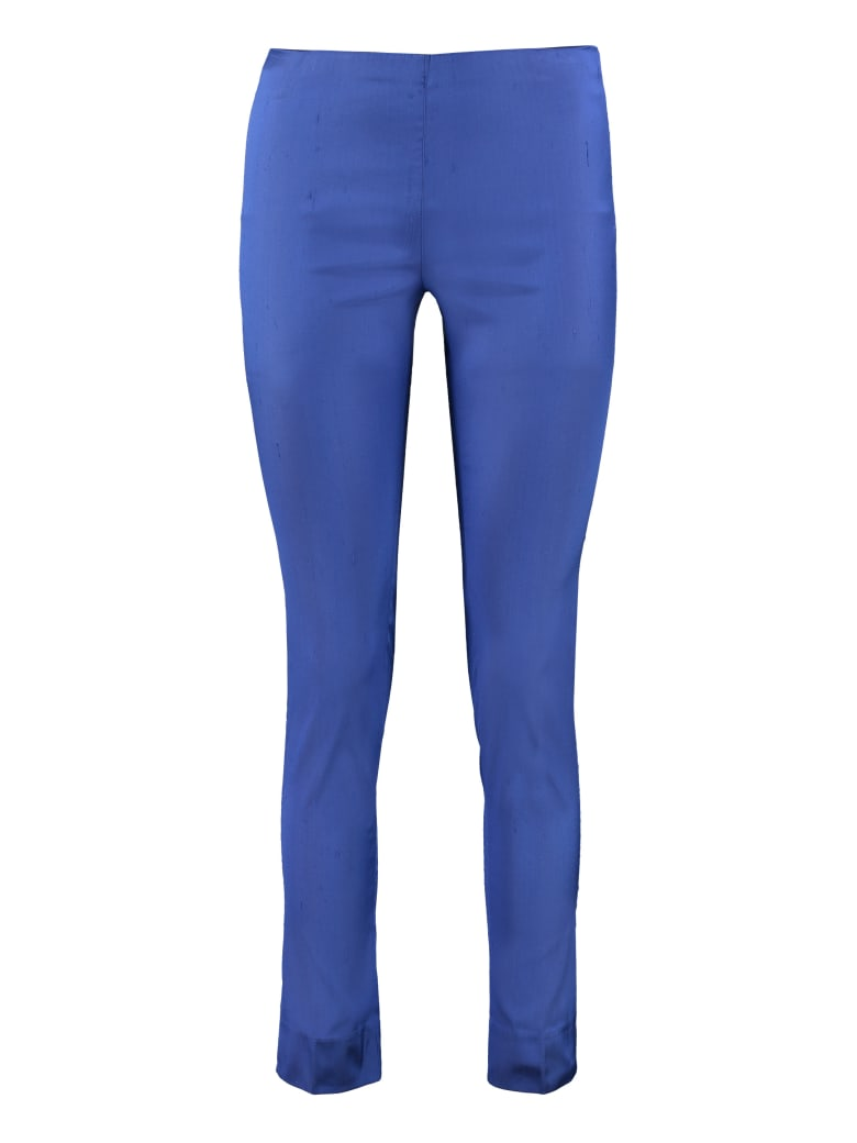 Parosh Elasticated Waist Silk Trousers - Blue