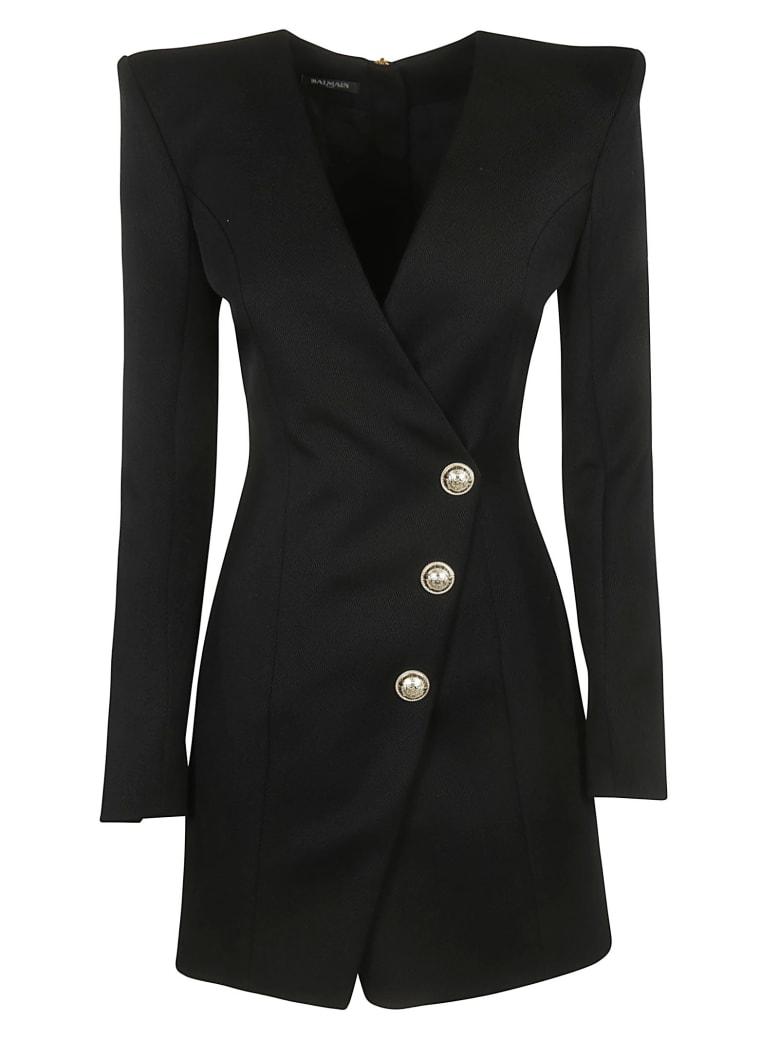 Balmain One Side Buttoned Dress - Black