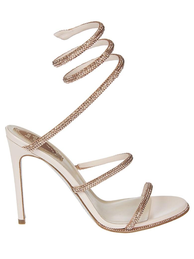 René Caovilla Cleo Ankle Strap Twist Sandals - Beige
