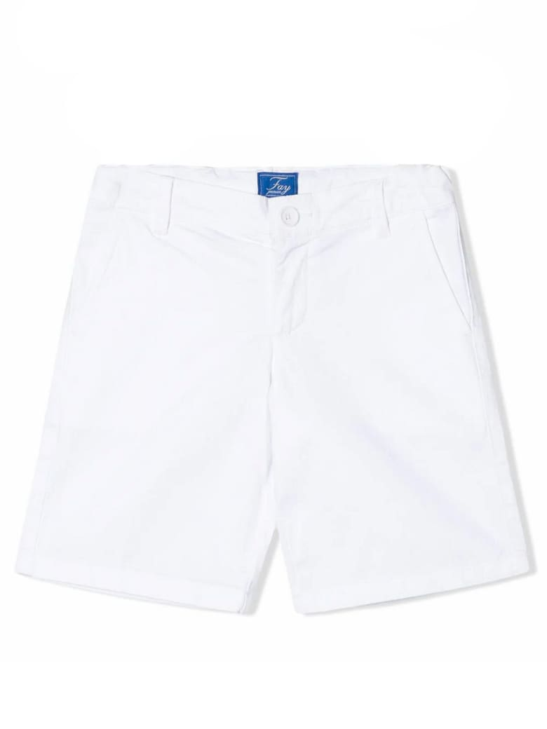 Fay White Stretch Cotton Shorts - Bianco