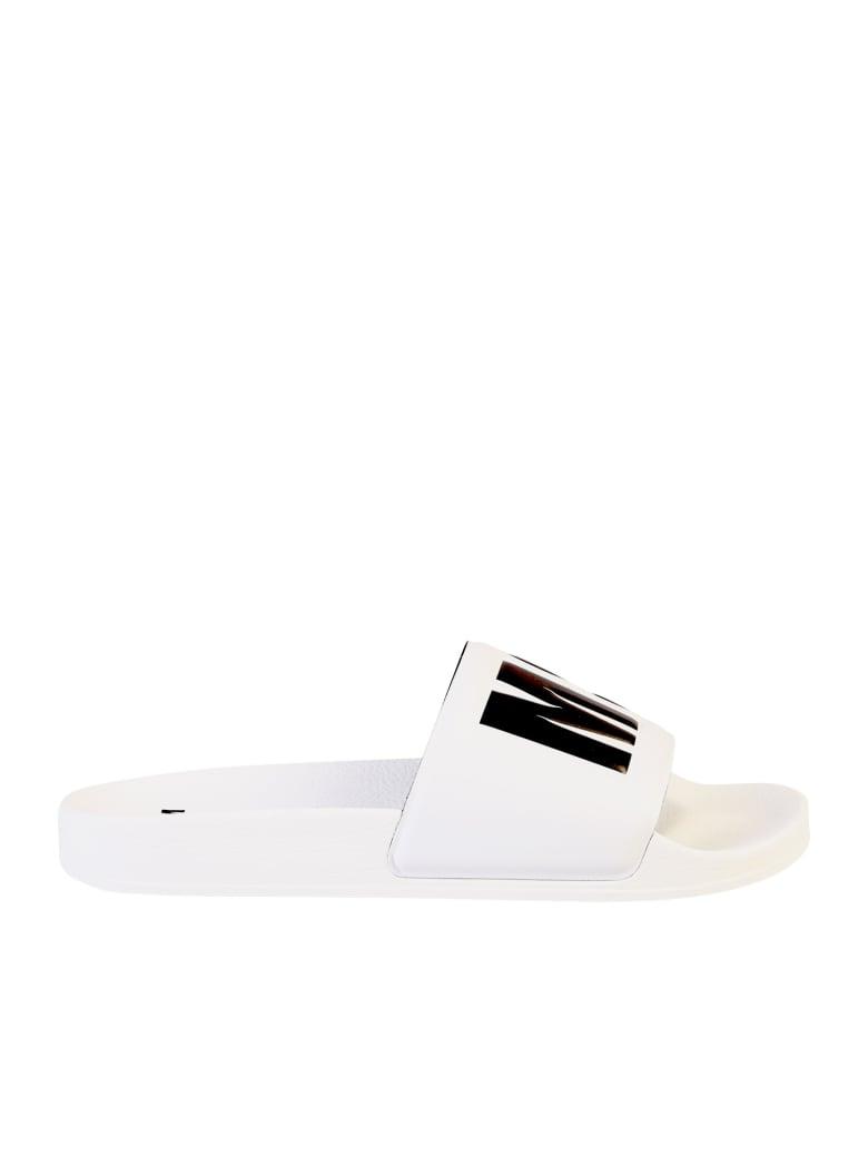 MSGM Branded Slide Sandals - White