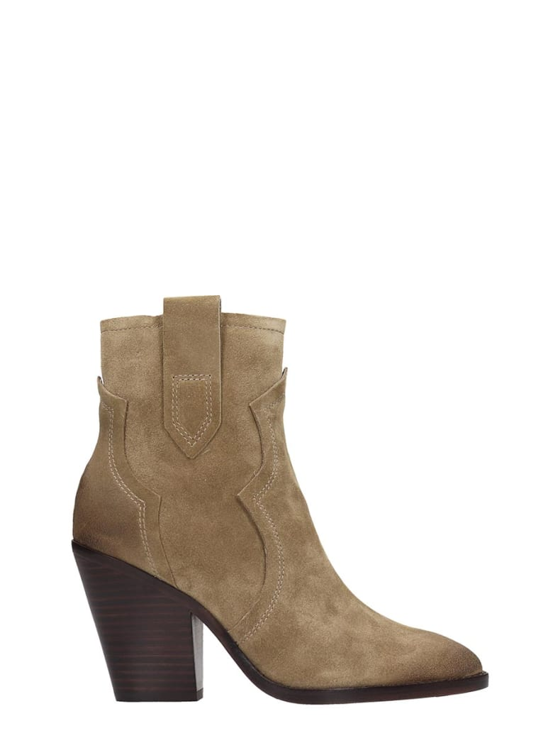 Ash Esquire 01 Texan Ankle Boots In Beige Suede - beige