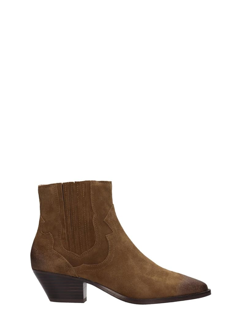 Ash Falcon 02 Texan Ankle Boots In Brown Suede - brown