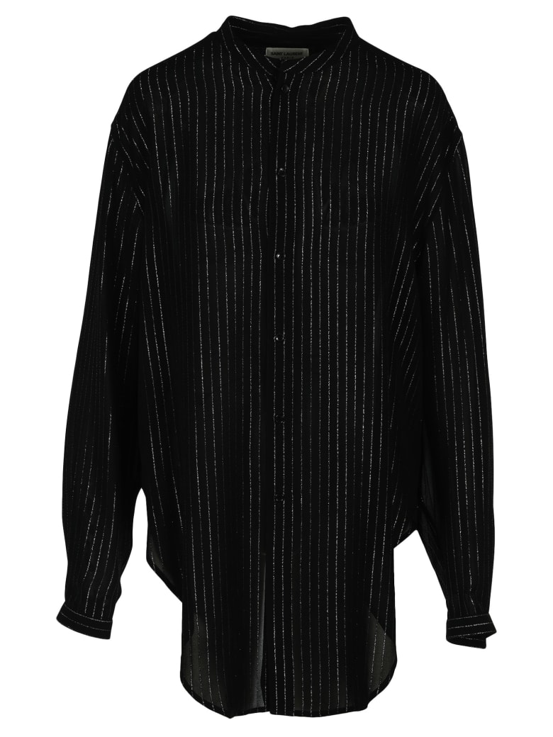 Saint Laurent Laminated Striped Shirt - BLACK