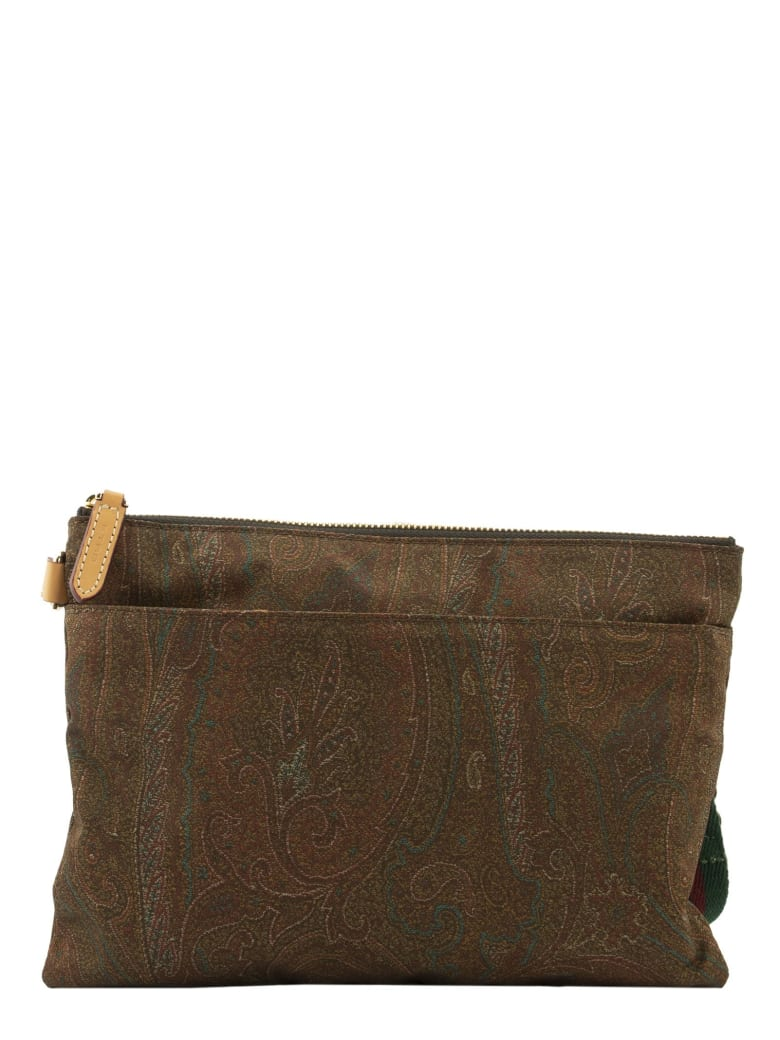 Etro Paisley Mini Bag With Multicoloured Inserts - Brown