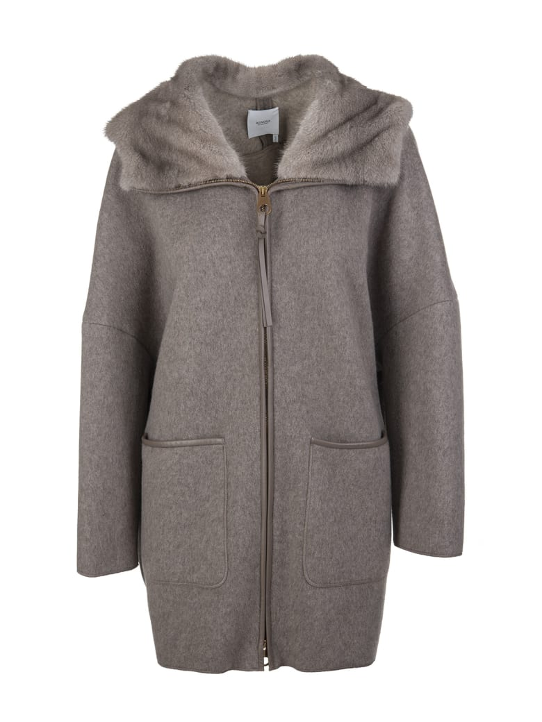 Agnona Woman Coat In Taupe Cashmere With Fur - Taupe