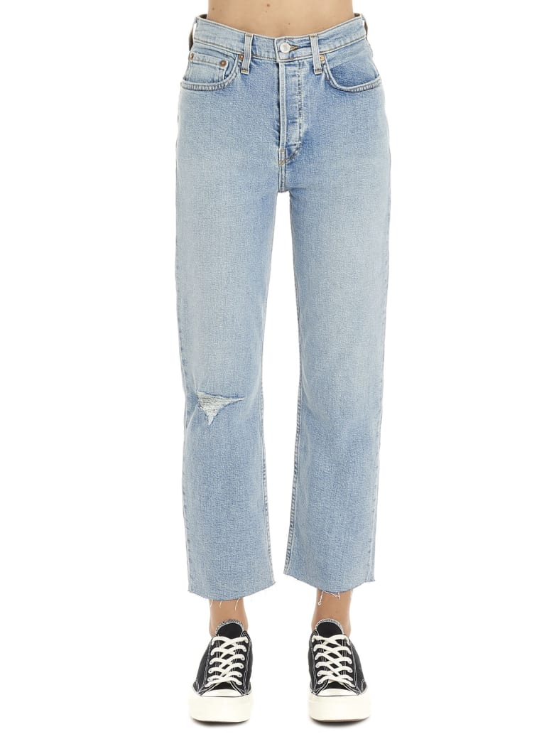 RE/DONE 'stove Pipe Destroyed' Jeans - Light blue