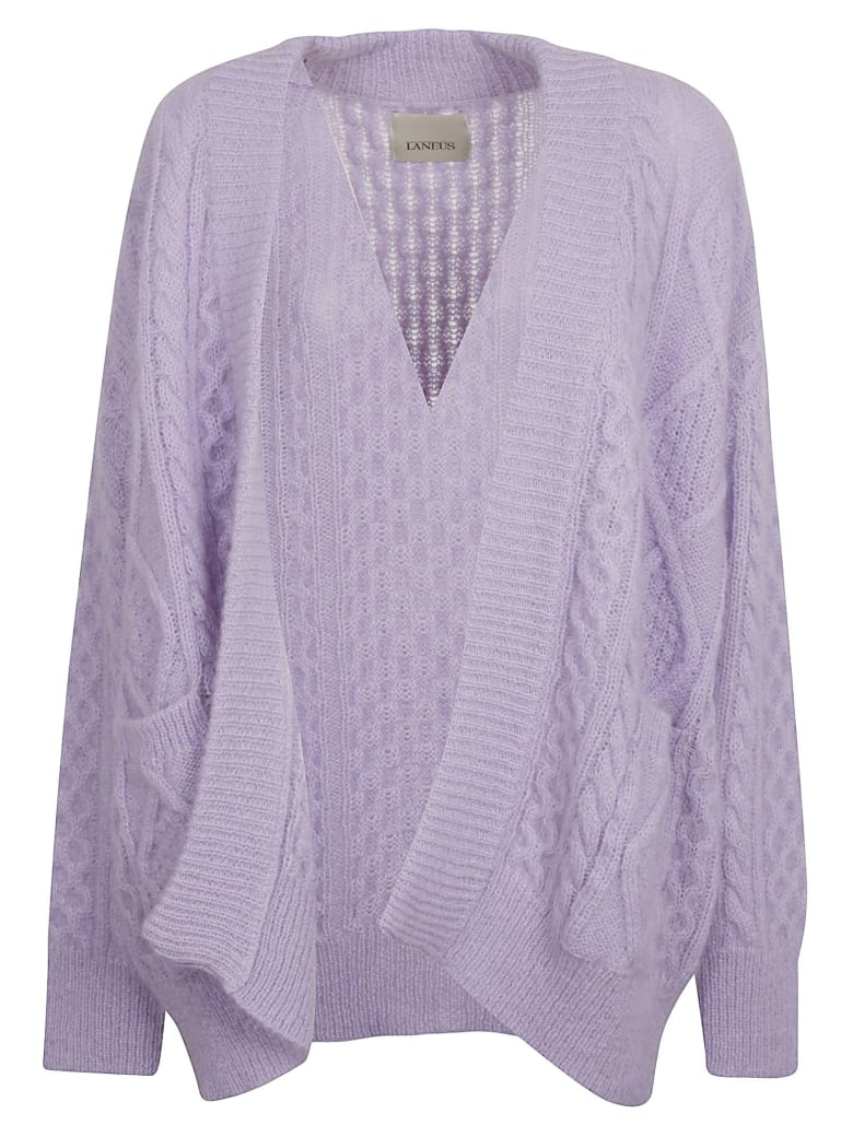 Laneus Knitted Open Cardigan - Lilac