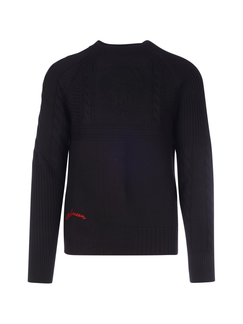 Alexander McQueen Boat Neck Pullover - Black Red
