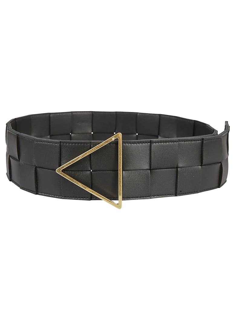 Bottega Veneta Intreccio Belt - Black/Gold