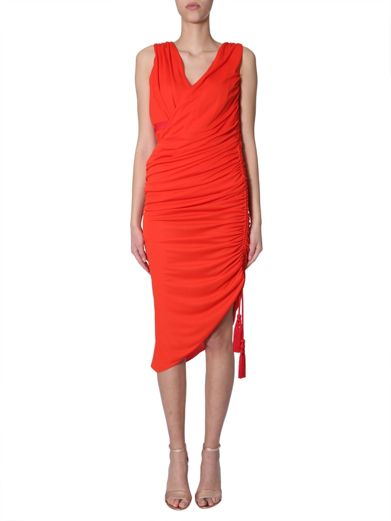 Lanvin Draped Midi Dress - ROSSO